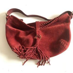 Coach Burnt Red Leather Fringe Hobo Bag